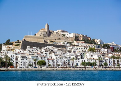IBIZA, SPAIN, July 18 2018: View of the Dalt Vila or Upper Town and its cathedral in Ibiza, Spain.