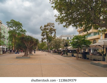 Ibiza, Spain, June 2018. Paseo de Vara de Rey, an essential place to stroll, shop or drink something. numerous  people in the place
