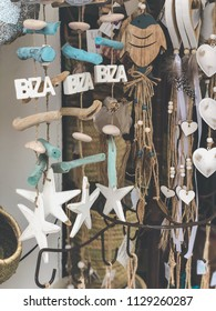 Ibiza, Spain, June 2018. typical wooden decoration to give or take as a souvenir, with the letters of Ibiza