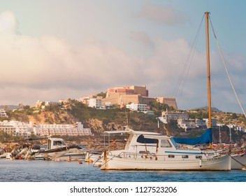 Ibiza, Spain, June 2018. View of Dalt Vila, old walled city, from the bay of the city, near the area of Figueretas. Numerous boats in the place