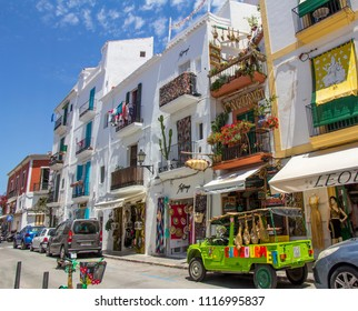 IBIZA, SPAIN - JUNE 21, 2017. View of the Ibiza old town streets in Dalt Vila plenty of restaurants. IBIZA is one of the Balearic islands that are located in the Mediterranean Sea