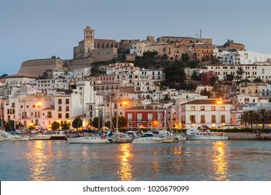 IBIZA, SPAIN - JUNE 29, 2007: Beautiful view of old town of Eivissa - the capital of Ibiza, Spain.