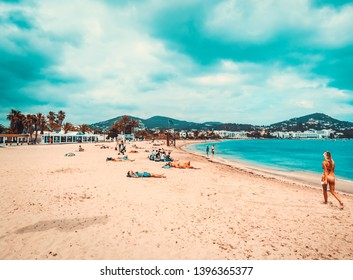 ibiza, spain June 29, 2018. View of the beach of Talamanca in the city of Ibiza, which is visited by thousands of tourists every year. There are many restaurants and leisure areas