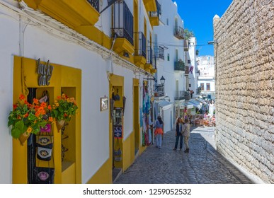 Ibiza, Spain - May 18,2013: People near the stores of  the old town (Dalt Vila)