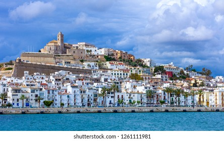 Ibiza, Spain - May 19, 2013: View from the sea of the old town (Dalt Vila)