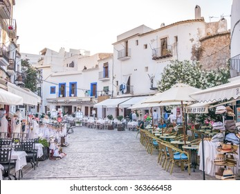IBIZA, SPAIN - MAY 23, 2015. View of the Ibiza old town streets in Dalt Vila plenty of restaurants and businesses.