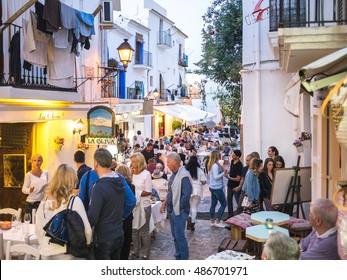 Ibiza, Spain - May 23, 2015. View of the Ibiza old town nightlife in Dalt Vila plenty of cool restaurants.
