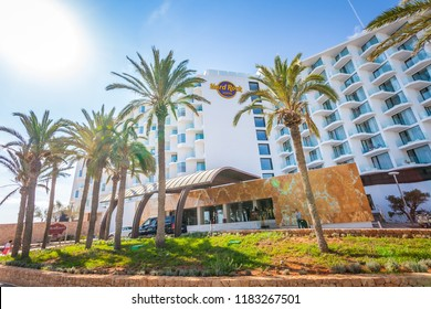 IBIZA, SPAIN - OCTOBER 10, 2014: Famous Hard Rock Ibiza hotel, best place for luxury vacation on Ibiza Island