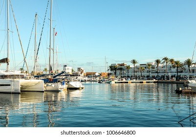 Ibiza, Spain - October 5, 2017 : Beautiful view of boat port and town in Ibiza city and Formentera islands, Spain. Sea rest and holiday concept.