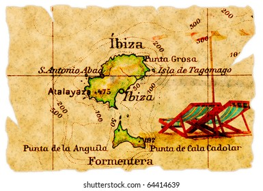 Ibiza, Spain on an old torn map from 1949, isolated. Part of the old map series.
