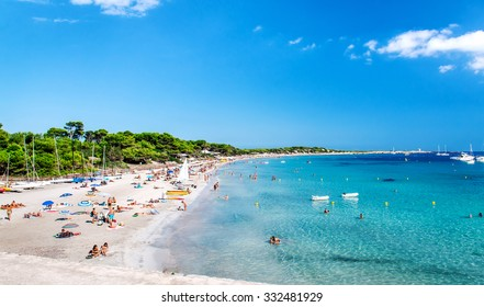 Ibiza, Spain- September 21, 2013: People swimming and sunbathing on the picturesque Las Salinas beach. Ibiza, Balearic islands. Spain