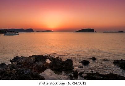 Ibiza, Spain, sunrise on the beach of Es Canar