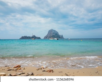 Ibiza, Spain. view of the islets of Es Vedrá and Es Vedranell, from the sand of the beach of Cala D'hort