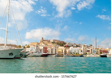 Ibiza Town, Ibiza with Dalt Vila in the background as viewed from the sea