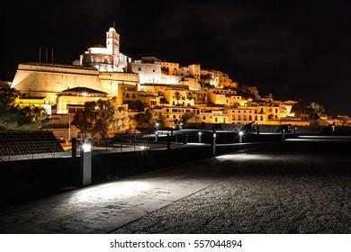 Ibiza town at night