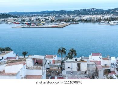 IBIZA-EIVISSA,SPAIN-JANUARY 19,2016: General city view and port of Ibiza.