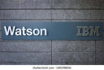 IBM Watson sign near IBM Watson headquarters office building in SOMA - San Francisco, California, USA - Circa, 2019