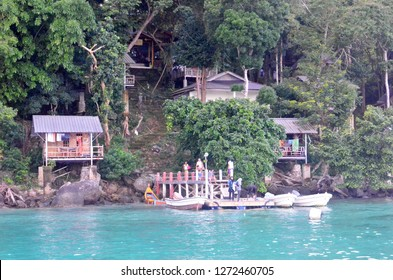 Iboih Beach, Kota Sabang / Indonesia - Jan 1 2018: Iboih Inn is the probably most beautiful place to stay in Sabang. The tourist would experience a wonderful scuba diving in here.