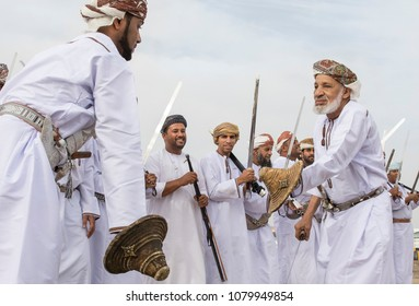 Ibri, Oman, 28th April 2018: men dancing and singing omani traditional way