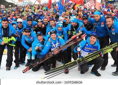 - IBU Biathlon World Championships 2020 - Antholz -   Anterselva - Italy on 23/02/2020, French Team,Quentin Fillon Maillet, Emilien Jacquelin (FRA)