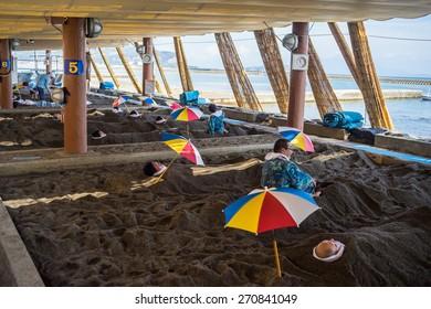 IBUSUKI, JAPAN - October 20, 2014: Sand-steam (Sunamushi) hot-spring in Surigahama Spa in Ibusuki ,Ibusuki is famous for black-sand spas known as sunamushi onsen. Kagoshima, Kyushu, Japan