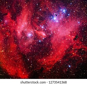 IC 2944, Nicknamed the Running Chicken Nebula Color-Enhanced Red Galaxy Universe Background Wallpaper