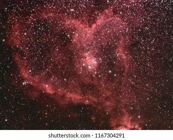 IC1805 Heart Nebula with Galaxy,Open Cluster,Globular Cluster, stars and space dust in the universe and Milky way taken by dedicated astrophotography camera on telescope.