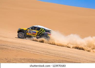 ICA, PERU - JAN. 06: Joan (Nani) Roma (ESP) Drive his car during his participation on Rally Dakar 2013, JAN 06, 2013 in Ica, Peru.