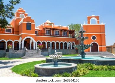 ICA, PERU - OCTOBER 28: Mansion of the Pisco El Porton company in Ica, Peru on October 28, 2014