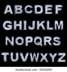 Ice 3D Font complete alphabet