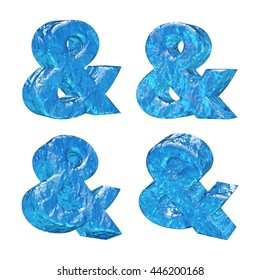 Ice alphabet letter &. 3D rendered illustration.