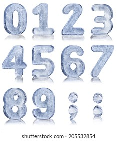 Ice Alphabet Numbers with reflection