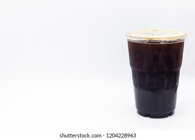 Ice americano coffee Isolated on white background.