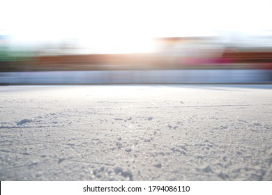 ICE BACKGROUND WITH SPEED MOTION BLUR, EMPTY ICE HOCKEY STADIUM, OUTDOOR WINTER BACKGROUND, COLD BACKDROP