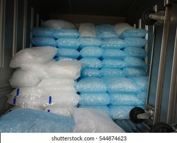 ice bags on the truck