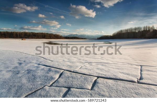 Ice bay. Freezing creek on water reservoir, Slovakia.