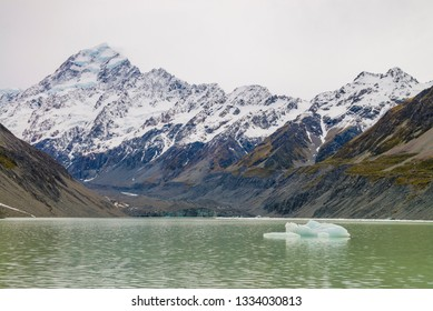 Ice berg floating on Hooker Lake, Mount Cook National Park, New Zealand.