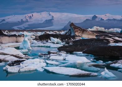 Ice bergs floating on glacial lagoon, Iceland