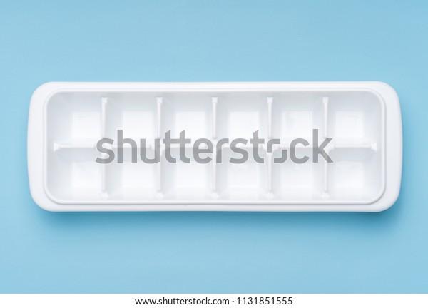 Ice block mold on white background