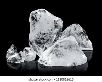 ice blocks isolated on black background