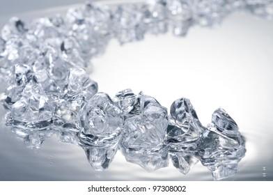 Ice blocks over wet surface