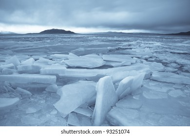 Ice Braking up on Utah Lake