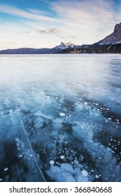 Ice bubbles at Abraham Lake in Alberta, Canada