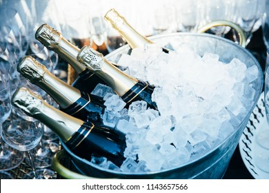 Ice Bucket with five champagne, cava or prosecco bottles. Glasses in background.