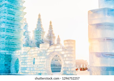 Ice building in cold winter. Located in Harbin, Heilongjiang, China.