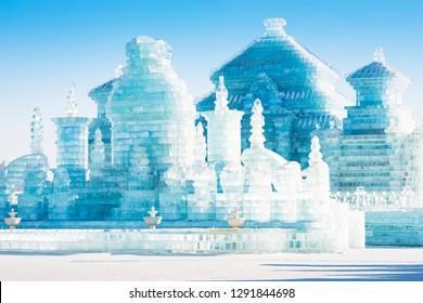 Ice building. Harbin International Ice and Snow Festival. Located in China Harbin Ice and Snow World, Harbin, Heilongjiang, China.