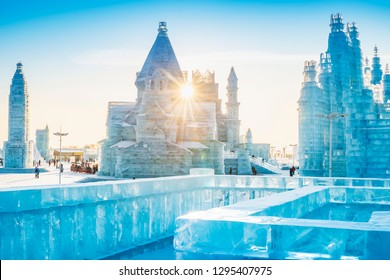 Ice building. Located in Harbin, Heilongjiang, China.