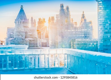 Ice building at sunset in cold winter