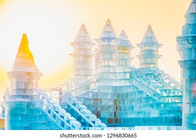Ice building at sunset in cold winter. Located in Harbin, Heilongjiang, China.
