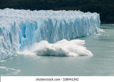 Ice calving off the perito moreno glacier in Argentina